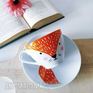 porcelanowa kubki ręcznie malowana filiżanka z lisem