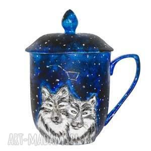 czarne kubki porcelana zakochane wilki kubek z pokrywką