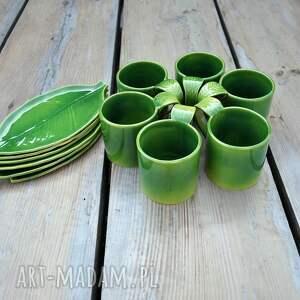 Zestaw 6 kubków ceramicznych z podstawką Liść - prezent kubki
