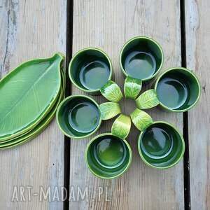 zielone kubki ceramika zestaw 6 kubków ceramicznych