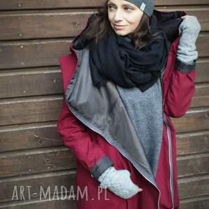 zimowa kurtka bordowy płaszcz, oversize