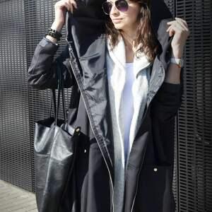 niepowtarzalne kurtka parka czarny płaszcz oversize ogromny
