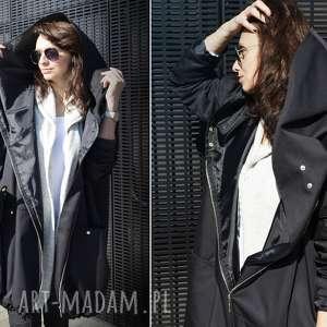 kurtka z-kapturem czarny płaszcz oversize ogromny