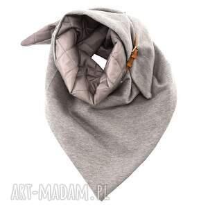 puchowa szare dwustronny pikowany szal chusta