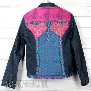 fioletowe kurtki kolorowa dzinsowa kurtka w styli boho