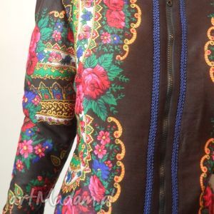 intrygujące kurtki kurtka folk design letnia - czarna