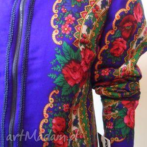 kurtki folk design- szafirowa kurtka
