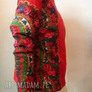 modne kurtki folk design kurtka letnia- czerwona