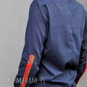 folk kurtki czerwone koszule męskie design