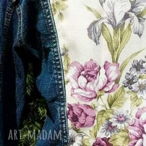 trendy kurtki aplikacja jeansowa kurtka z kwiatem