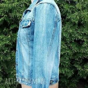 dżins kurtki jeansowa kurtka z białą koronką