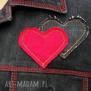 dżins kurtki jeansowa kurtka z sercem