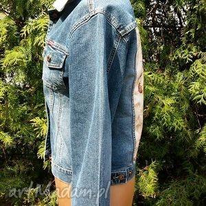 niebieskie kurtki katana jeansowa kurtka z kwiatem
