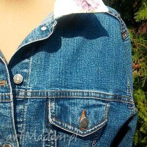 kurtka kurtki zielone jeansowa z kwiatem