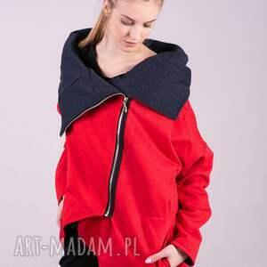 kurtka damska na zamek czerwona - handmade bluzy