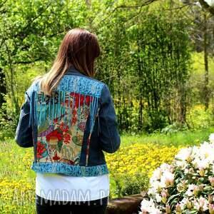 frędzle kurtki turkusowe kurtka dżinsowa z frędzlami boho