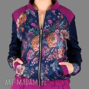 bomber kurtki niebieskie kurtka flower jacket