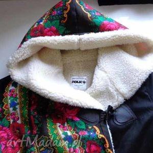 folk kurtki czarne kurtka na wełnie design