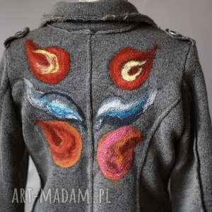 szare kurtki wełna kurtka wełniana filcem okraszana