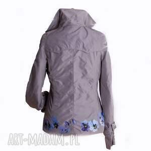 turkusowe kurtki kurtka wiosenna ręcznie malowana