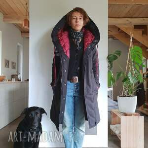 oryginalne futro kurtka zimowa granatowa czarna