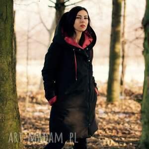 futerko kurtka zimowa w kolorze czarnym, z jedwabną