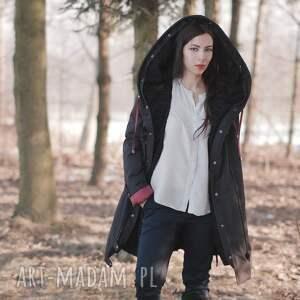 czarne zimowa kurtka z jedwabną arbuzową