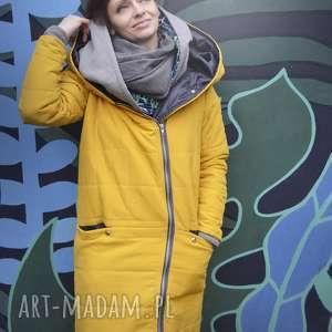 ręcznie zrobione żółta kurtka oversize pikowana zimowa