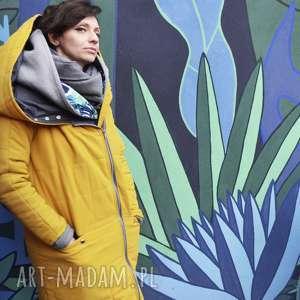 Agagu Oversize żółta pikowana zimowa kurtka z duzym kapturem rozmiar na podszewce