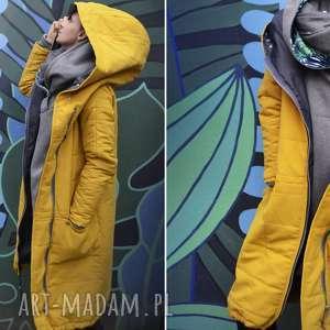kurtka na podszewce oversize żółta pikowana zimowa