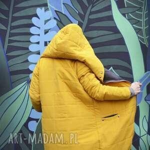 oryginalne oversize żółta pikowana zimowa