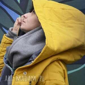żółte kurtka zimowa oversize żółta pikowana