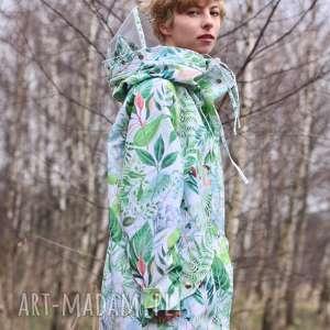 unikalne kurtki liście przeciwdeszczowa biała w