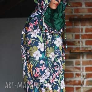 awangardowe kurtki kaptur przeciwdeszczowa grafitowa kwiaty