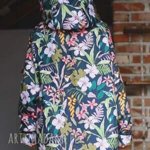 awangardowe kurtki wodoodporna przeciwdeszczowa grafitowa kwiaty