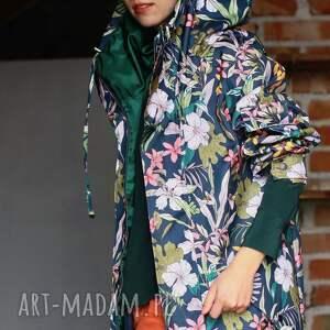 wodoodporna kurtki przeciwdeszczowa grafitowa kwiaty