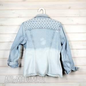 turkusowe kurtki rock kurtka dżinsowa z ćwiekami