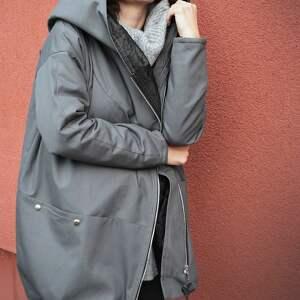 ciekawe kaptur szary płaszcz oversize ogromny