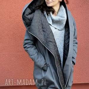 Szary płaszcz oversize ogromny kaptur na jesień rozmiar XL kurtka z-kapturem