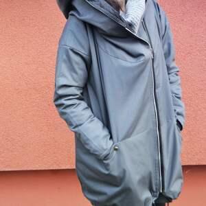 Szary płaszcz oversize ogromny kaptur na jesień rozmiar XL kurtka zimowa