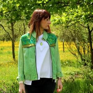 ręczne wykonanie kurtki kurtka zielona katana z chwostami