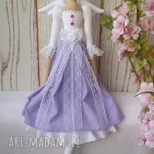 różowe lalki lalka cudna anielinka w pięknej lawendowej sukienusi