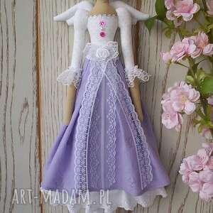 anioł lalki fioletowe aniołek lalka lawendowa koroneczka