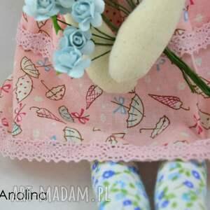 turkusowe lalki anolinka anolinka- ręcznie szyta lalka