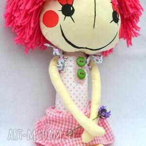 różowe lalki lalka anolinka - ręcznie wykonana