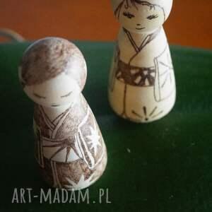ręcznie robione lalki kokeshi dzień i noc - para laleczek