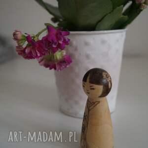 brązowe lalki retro japoneczka 2 - ręcznie wypalana