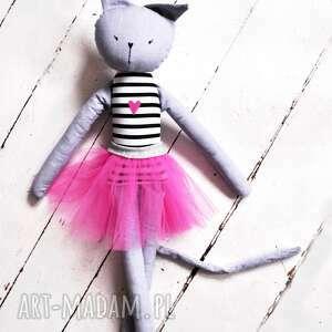 szare lalki szmacianka kot. duża kocia baletnica.