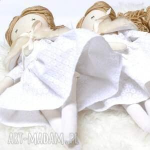 białe lalki lalka hand made w białej sukience