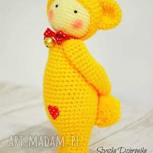 żółte lalki lalka miś lalylala szydełkowa